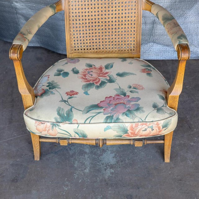 Caning 1920s Folk Art Blonde Cane Back Floral Print Armchair For Sale - Image 7 of 11