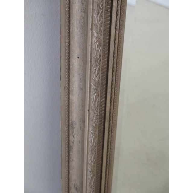 Tall Rectangular Silver Decorated Framed Beveled Glass Mirror Age: Approx: 10 Years Old Details: Beveled Glass Quality...