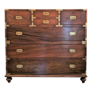 Antique English Jacaranda Wood Military Chest With Brass Mounts, Circa 1800-1820.