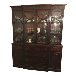 Georgian Style Mahogany Bubble Glass Breakfront Cabinet For Sale