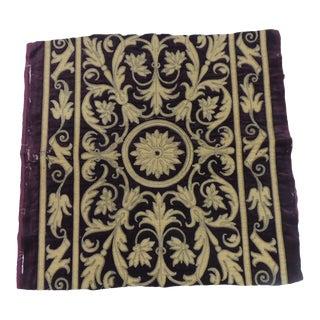 Antique Italian Gold and Burgundy Silk on Silk Velvet Applique Textile Panel For Sale