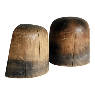 Vintage Wooden Hat Blocks/Bookends - A Pair For Sale