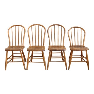 Antique Primitive French Bent Wood Chairs - Set of 4