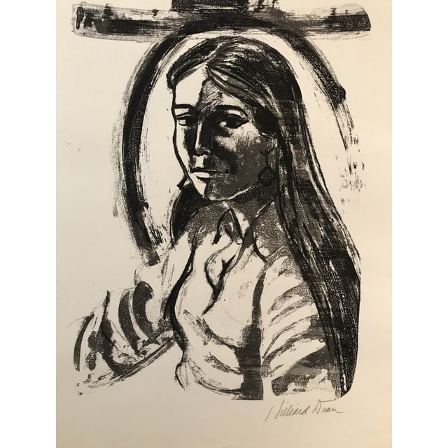 Contemporary 1970s Vintage Hilliard Dean Portrait of a Lady Serigraph For Sale - Image 3 of 7