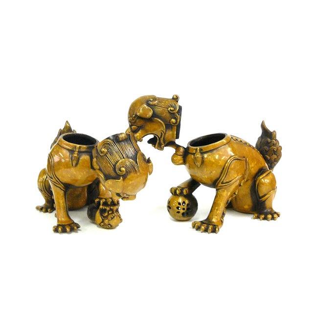 Fengshui Chinese Bronze Metal Foo Dogs - Pair - Image 5 of 6