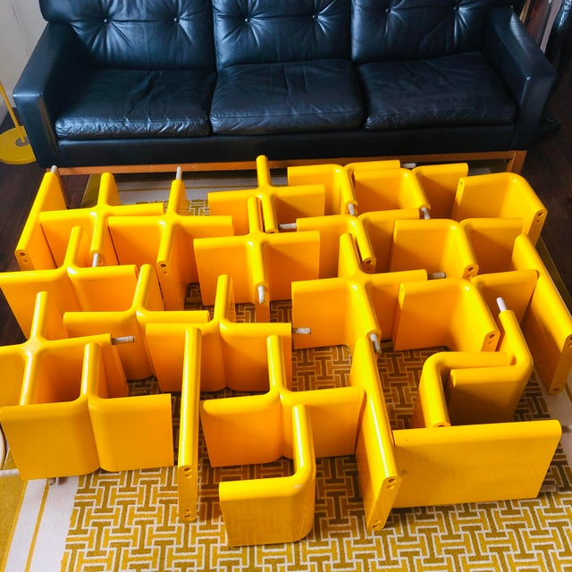 Mid-Century Modern 1970s Umbo Yellow Plastic Modular Shelving System - Made of 25 Pieces For Sale - Image 3 of 5