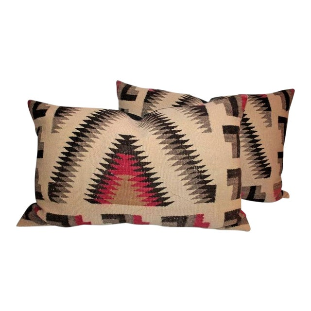 Pair of Monumental Geometric Indian Weaving Bolster Pillows For Sale
