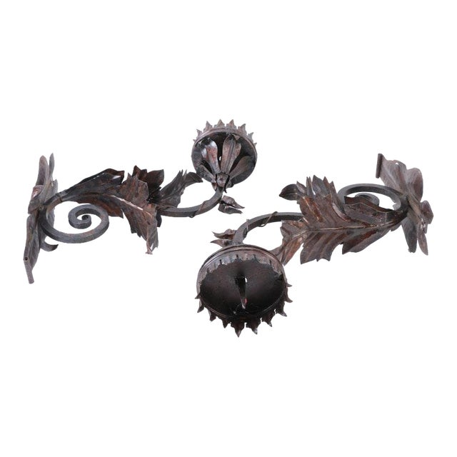 Metal Floral Decorative Wall Mounted Candle Sconces For Sale