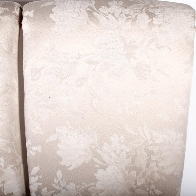 Contemporary Off White Upholstered High Back Skirted Parsons Chairs - a Pair For Sale - Image 4 of 9