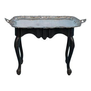 Antique Silver Plate Tray Table on an Ebonized Base For Sale