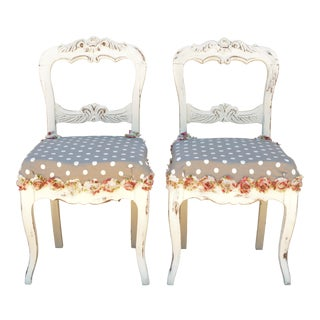 1930s Shabby Chic Rose/Polka Dot Side Chairs - a Pair For Sale