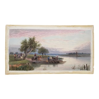 """Late 19th to Early 20th Century """"Horse Ferry"""" Watercolor Painting For Sale"""