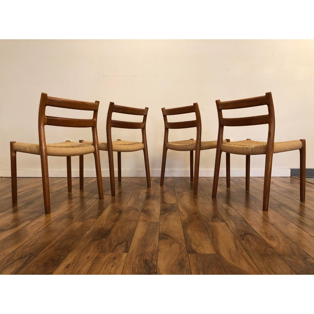 J.L. Møllers Møbelfabrik Niels Otto Møller for j.l. Møller Teak Dining Chairs, Model 84 - Set of 4 For Sale - Image 4 of 13