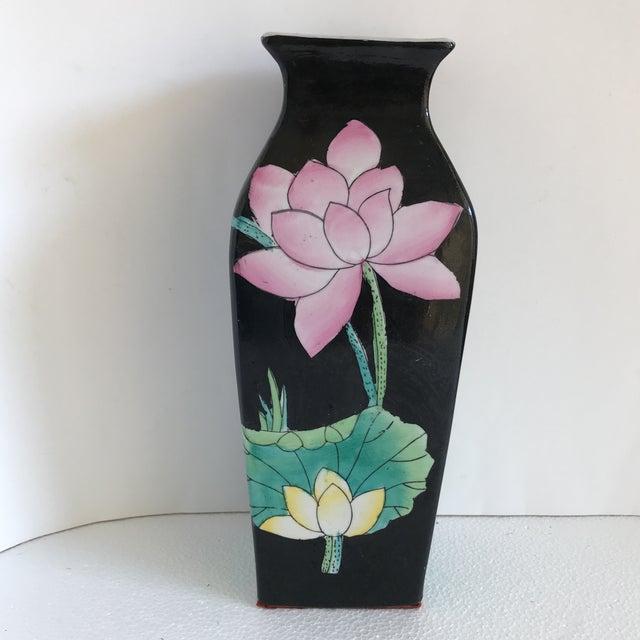 Asian Pink Black Lotus Flower Vase Chairish