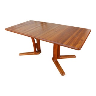 1960s Danish Modern Solid Teak Dining Table For Sale