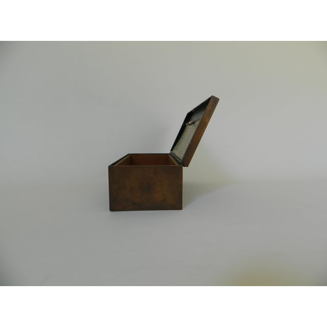 1910s Heintz Silver Inlay & Bronze Cigar Box For Sale - Image 5 of 6