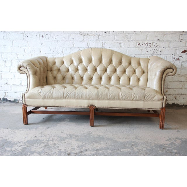 Vintage Tufted Tan Leather Chesterfield Sofa For Sale - Image 10 of 10