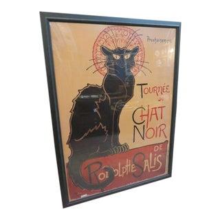 """Vintage Large """"Chat Noir"""" Cat Print For Sale"""