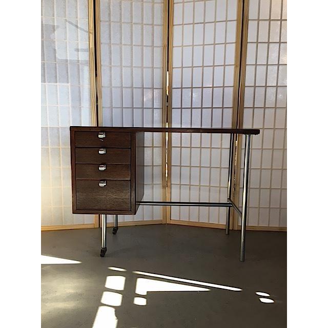 Small Mid-Century Chrome & Wood Kneehole Desk - Image 2 of 5