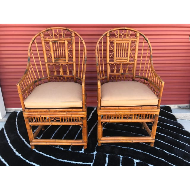 Mid 20th Century Vintage Mid Century Brighton Pavillion Chinese Chippendale Boho Arm Chairs- A Pair For Sale - Image 5 of 5
