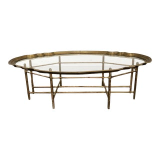 1940s Asian Antique Gilded Glass Coffee Table With Cane Base For Sale