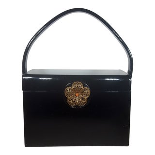 1950s Black Lucite Box Bag With Flower Clasp by Wilardy For Sale