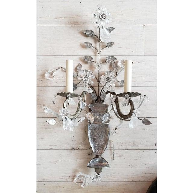 Vintage Light Rock Crystal Floral Sconces - a Pair For Sale - Image 4 of 5