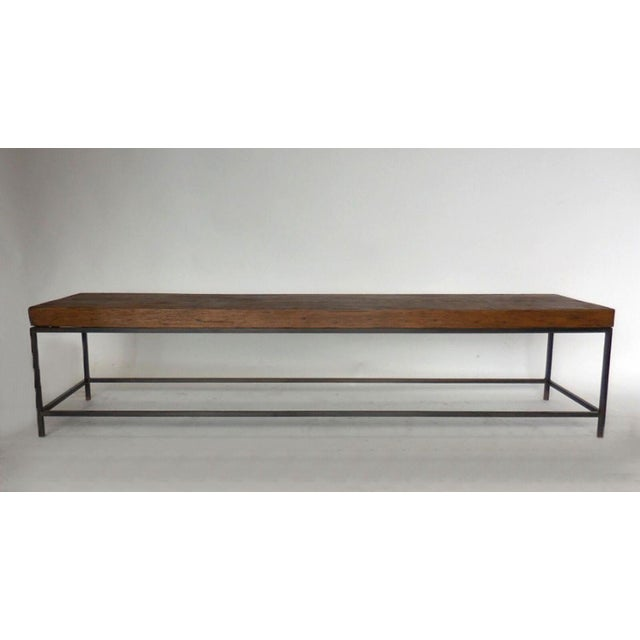 Contemporary Customizable Reclaimed Wood Modern Clean Line Coffee Table or Bench with Iron Base For Sale - Image 3 of 9