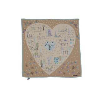 Whimsical Vintage Moschino Jacquard Silk Heart Scarf For Sale