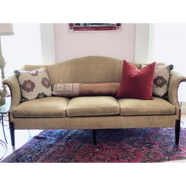 Textile Vintage Tobacco Color Velvet Camel Back Sofa For Sale - Image 7 of 10