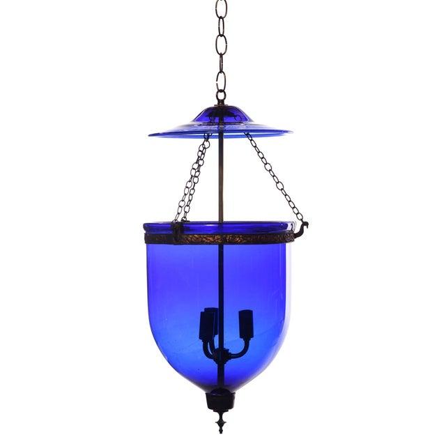 Blue Vintage Large Deep Indigo Blue Glass Bell Jar Pendant Light For Sale - Image 8 of 8