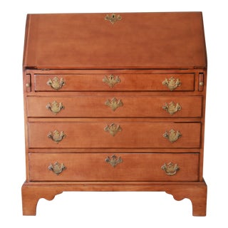 18th Century Early American Chippendale Cherry Wood Drop-Front Secretary Desk For Sale