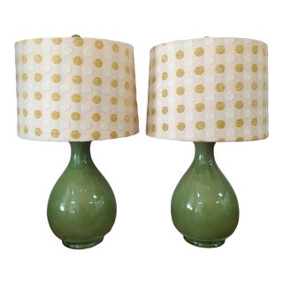 Vintage Mid Century Green Lamps With Polka Dot Shades - a Pair For Sale