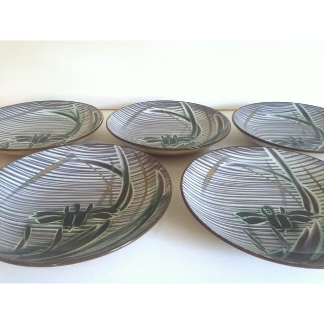 This set of 5 vintage Mid Century Modern Occupied Japan irises deep ceramic plate bowls are a very special and unique set...
