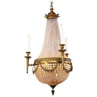 19th Century French Bronze and Crystal Rope Sac Pearl Chandelier For Sale