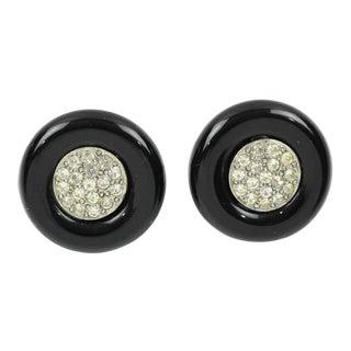 Angela Caputi Stud Earrings Black Resin and Clear Rhinestones For Sale