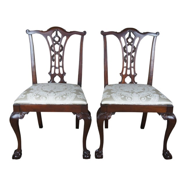 Chippendale Style Ribbon Back Dining Chairs Ball & Claw Side Accent - a Pair For Sale