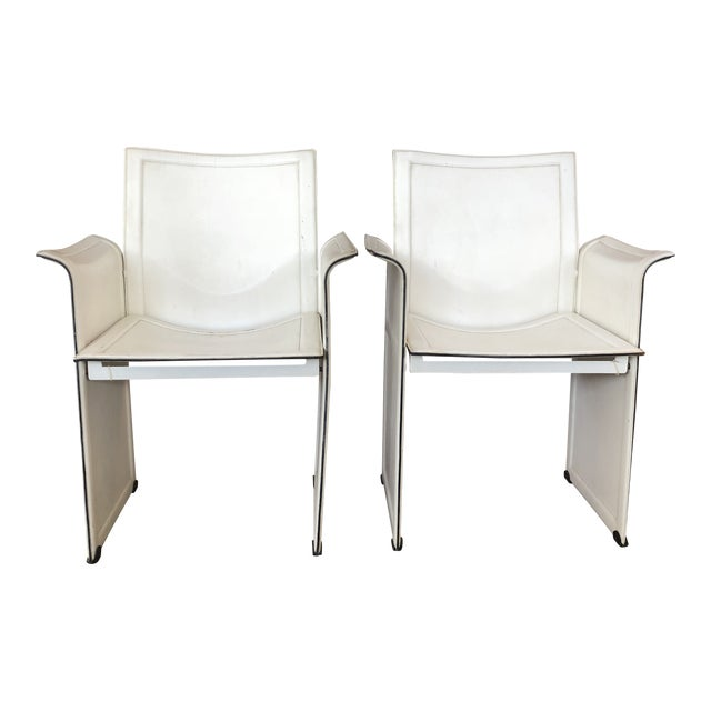 Vintage Tito Agnoli for Matteo Grassi Korium Leather Chairs - A Pair For Sale