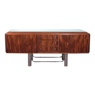French Modernist Sideboard in Flame Mahogany and Chromium W/ Frosted Glass Top For Sale