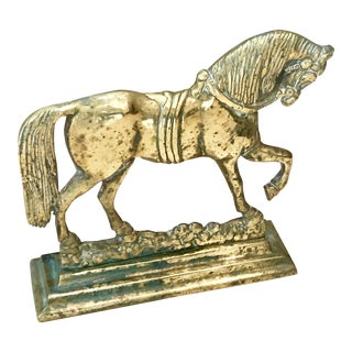 Antique English Brass Horse Doorstop For Sale