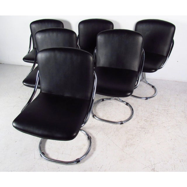 Modern Chrome & Vinyl Dining Chairs - Set of 6 - Image 3 of 11