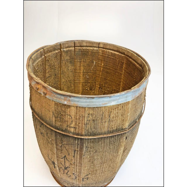 Vintage Rustic Banded Weathered Wood Nail Keg For Sale - Image 9 of 11