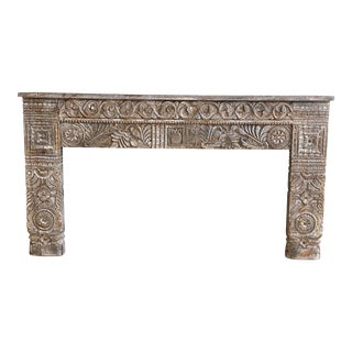 Vintage Indian Painted Carved Console For Sale