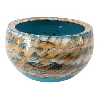 Ceramic Glazed Turquoise and Sand Centerpiece Bowl For Sale