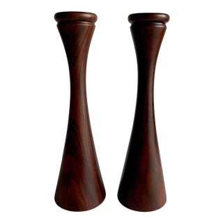Rosewood Candle Holders, a Pair For Sale