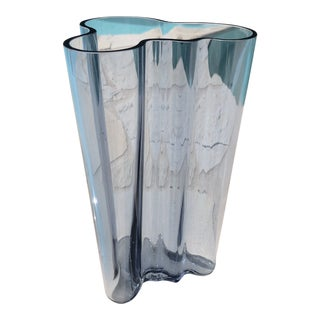 Iittala Alvar Aalto Signed Modern Blue Vase For Sale