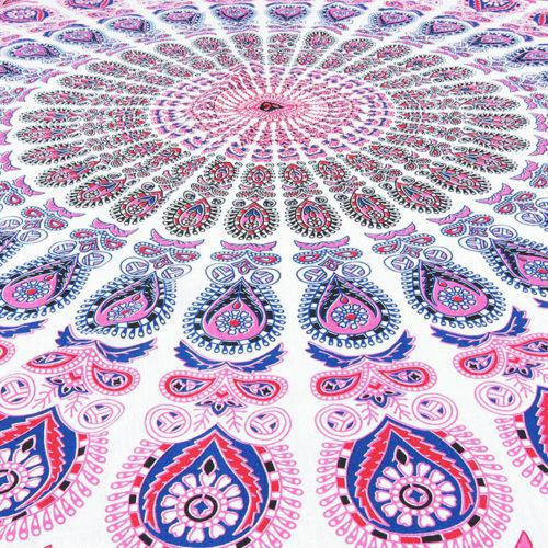 2010s Boho Chic Pink, Blue & White Beach Blanket For Sale - Image 5 of 7
