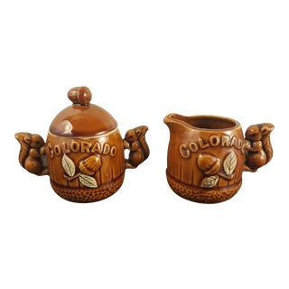Ceramic Colorado Souvenir Squirrel Cream and Sugar For Sale