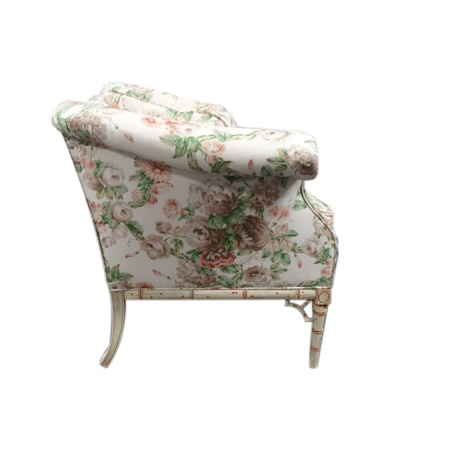 Hickory Chair Co. Floral Camel Back Bamboo Sofa - Image 6 of 11