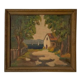 1914 Coastal Painting For Sale